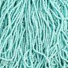 Cut 13/0 Opaque Green Aqua Aurora Borealis Strung